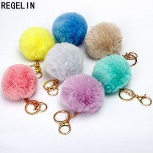 REGELIN Lovely Fluffy Pompom Keychains Artificial Rabbit Fur Ball KeyChain Women Bag Charms Jewelry Gift Pompom Keychain