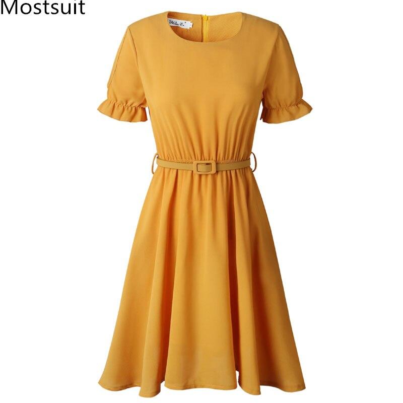 Сексуальные открытые платья с коротким рукавом, с поясом, женские желтые, розовые, белые, плюс размер, с круглым вырезом, с эластичной талией,...