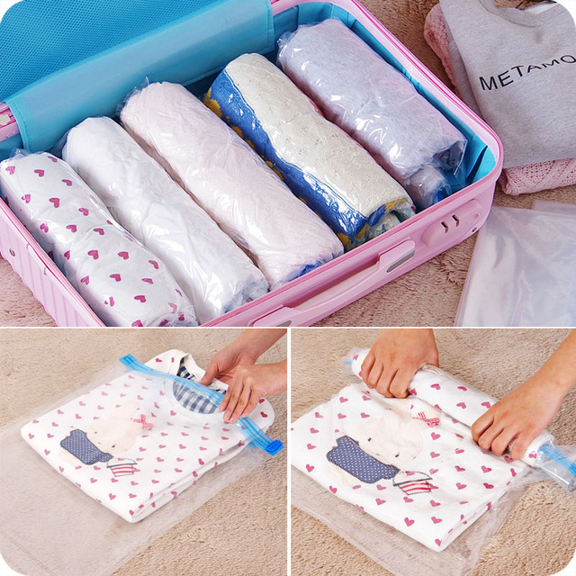 Hand Pressing Roll Seal Vacuum Compression Bags Clothes Portable Travel Storage Bag Fishing 4