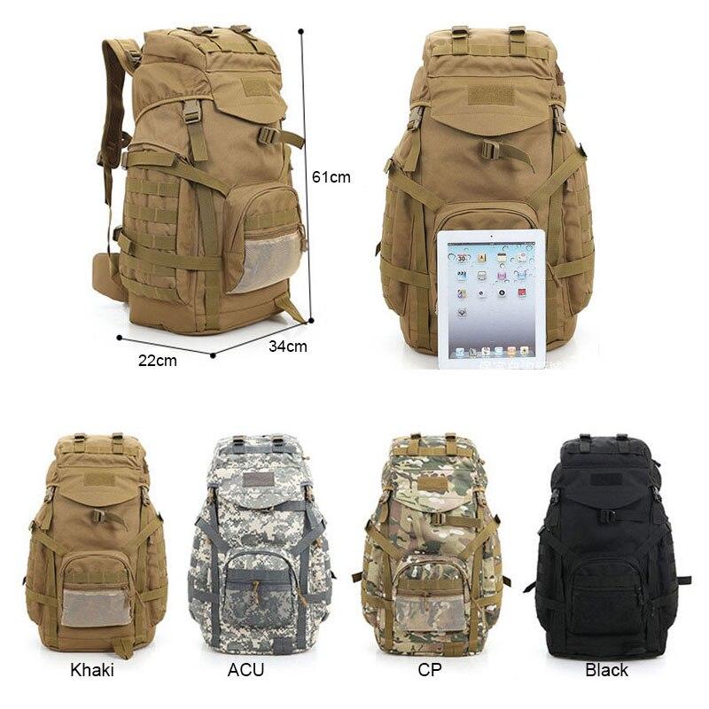 Molle 60L Camping sac à dos tactique sac à dos militaire grands sacs à dos imperméables Camouflage randonnée sacs d'armée en plein air XA281WA - 6