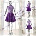 2195 Actual Images Beautiful Purple A line High neck Applique Lace Knee length short real photo cocktail dress 2017