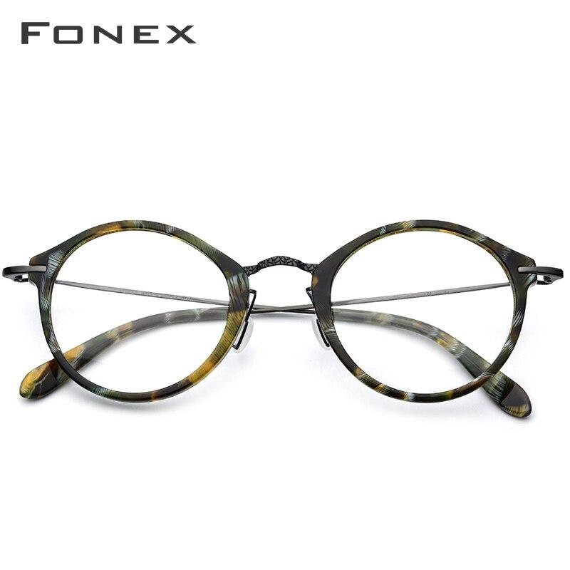Image 2 - Elastic B Titanium Optical Glasses Frame Women Vintage Round Prescription Eyeglasses Men Retro Myopia Acetate Spectacles Eyewear-in Men's Eyewear Frames from Apparel Accessories
