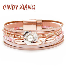CINDY XIANG Pink Color Leather Bracelets For Women Fashion Flower Cuff Bangles Wide Multi-layer Beads Jewelry Gift
