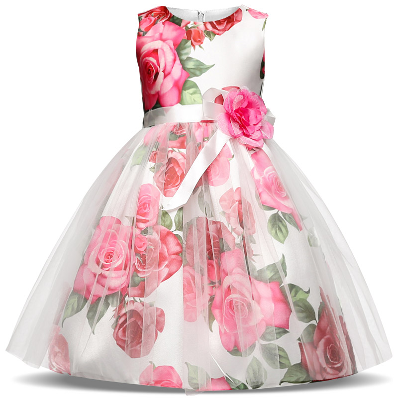 New Summer Floral Girl Princess Wedding Party Dresses Kids Evening Gowns Formal Big Rpse Flowers Clothes for 4-9 Years Kid Girls