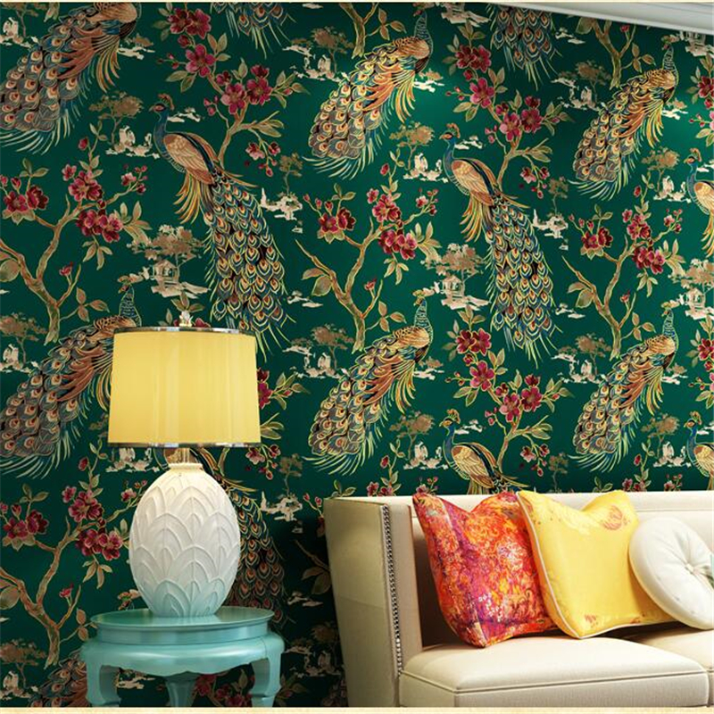 ФОТО beibehang Exotic Southeast Asia style retro green peacock wallpaper living room bedside background wallpapers papel de parede
