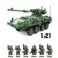 LWKO Military Field Army War MGS M1128 Weapon Building Blocks Compatible With Legoe Tank DIY Jagged Assembled Toys For Children