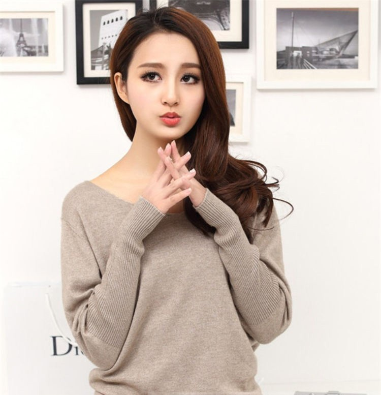 19 Spring autumn cashmere sweaters women fashion sexy v-neck sweater loose 100% wool sweater batwing sleeve plus size pullover 7