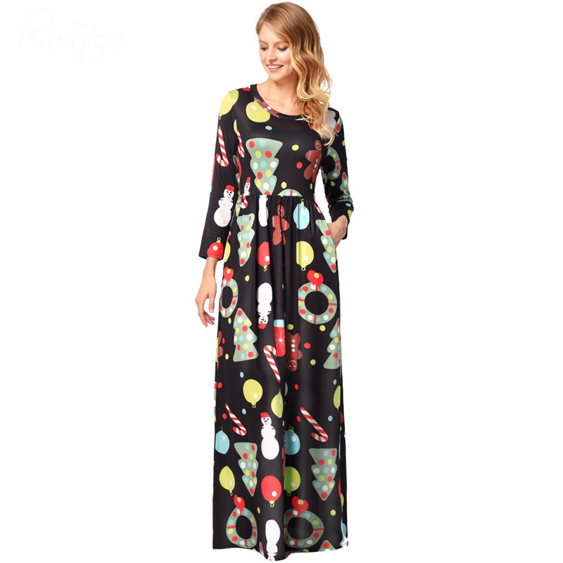 Ruiyige 2018 spring Women Casual Christmas Printed Half Sleeve O Neck Tunic  Pockets Maxi Dresses Santa Party Long Robes Clothing-in Dresses from Women s  ... d788cfaa8d8c