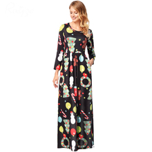 Ruiyige 2018 spring Women Casual Christmas Printed Half Sleeve O-Neck Tunic Pockets Maxi Dresses Santa Party Long Robes Clothing