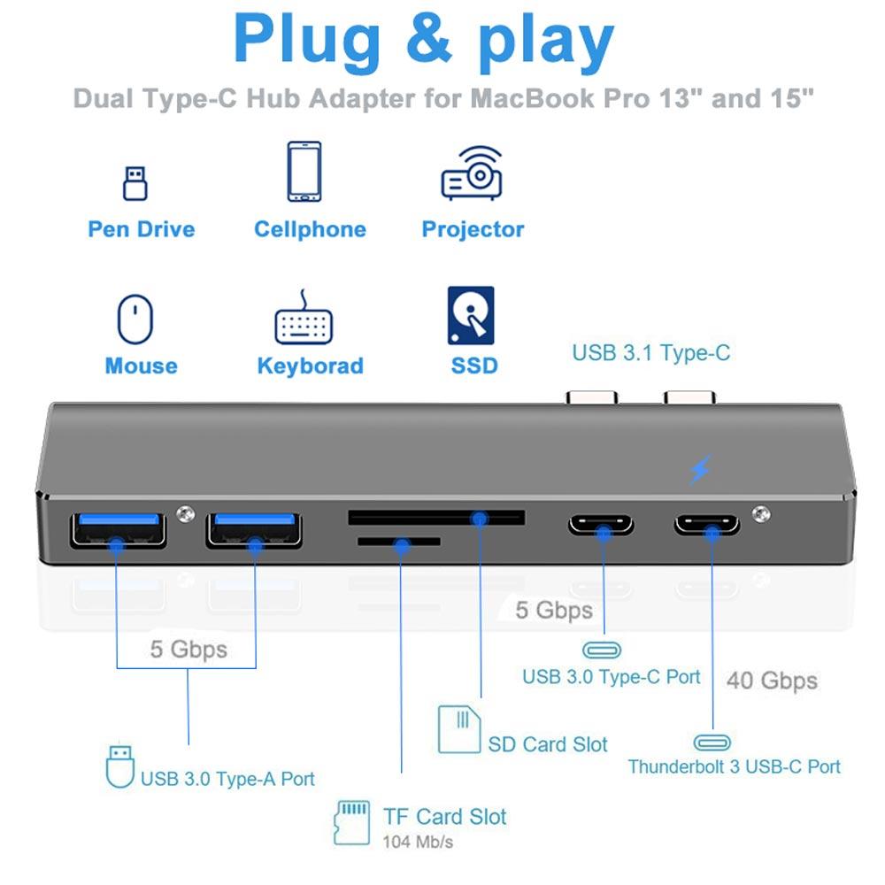 Ingelon multi usb3.0 otg usb hub USB C to HDMI 7in1 Thunderbolt 3 Adapter for MacBook Pro 13 and 15 Double Type C usb 3.0 hub (2)
