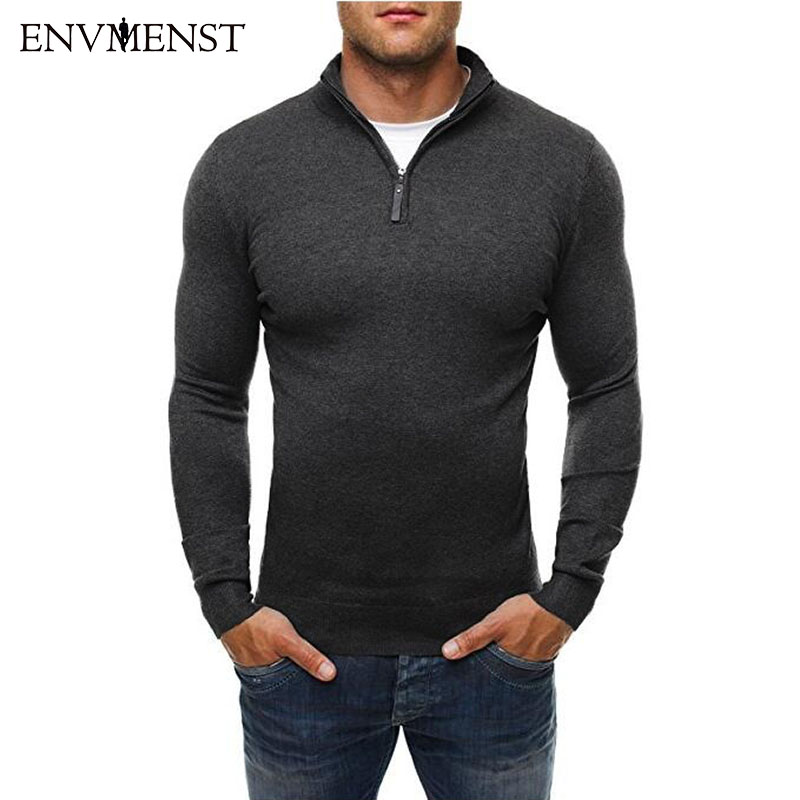 Envmenst Brand Sweater Pullover Men Casual Slim Sweaters Classic Zipper High Collar Simple Solid Color Men Sweater 3XL