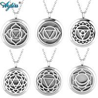 New Stainless Steel Round Sahasrara Chakra Aromatherapy Essential Oil Diffuser Locket Necklace Openable Pendant Silver Color
