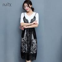 New Arrival Women Summer Dress Elegant Midi 2 Two Piece Set Lace Dress With White T