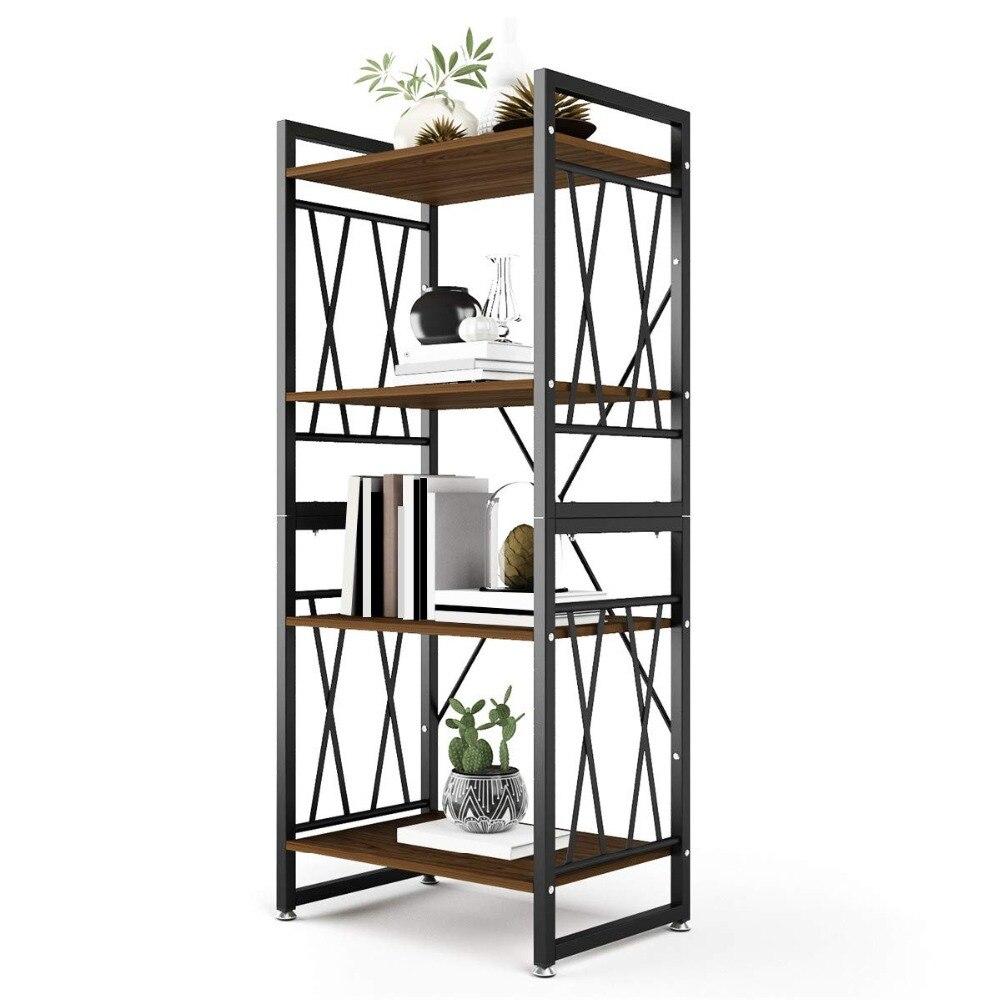 DEWEL 4 étagères étagère en métal et bibliothèque en bois 55 ''haut bibliothèque meubles debout étagères de rangement pour la décoration intérieure