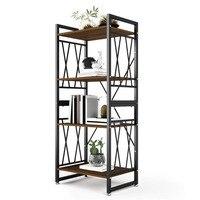 DEWEL 4 Shelf Bookshelf Metal and Wood Bookcase 55'' High Tall Bookcase Furniture Standing Storage Shelf Units for Home Decor