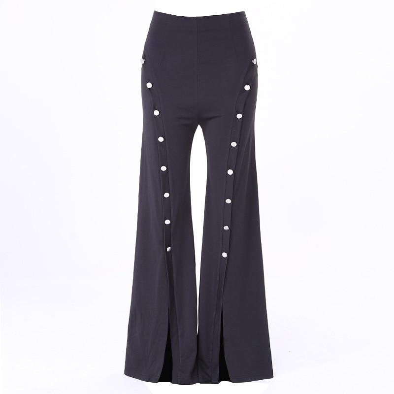 Parte Inferior De Campana Para Mujer A Rayas Elastico Cintura Alta Pantalones Acampanados Basica Del Pantalon De Pierna Ancha Control Ar Com Ar