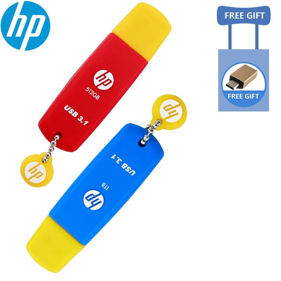 HP originais Mais Recente x788w USB 3.1 GB de Alta Velocidade USB Flash Drive 32 64 GB 128 GB 256 GB 512 GB de memória flash Pendrive Colorido corpo