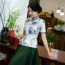 Shanghai Story traditional chinese top Short Sleeve Floral cheongsam top Qipao Shirt Chinese Blouse For woman