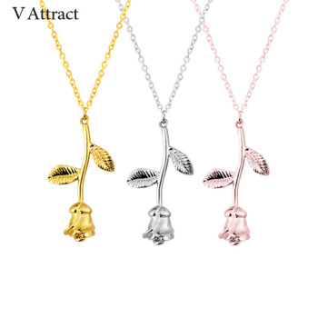 V Attract Silver Collier Femme Stainless Steel Long Chain Collier Pink Rose Flower Statement Necklace Women Jewelry Maxi Choker