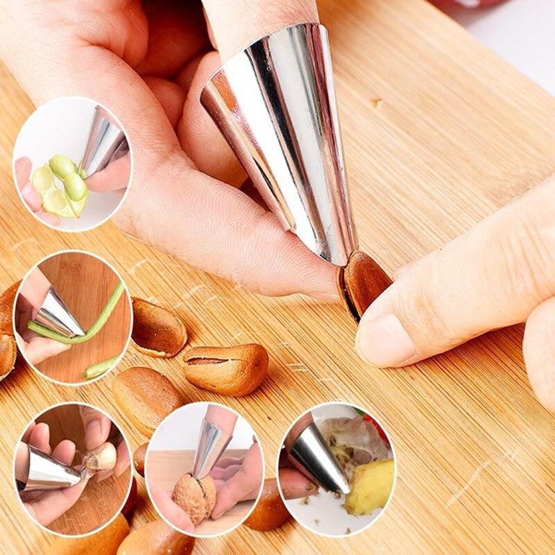 Защита для пальцев из нержавеющей стали, арахис Шеллер, овощные орехи, пилинг, защита для пальцев, кухонные защитные средства для резки
