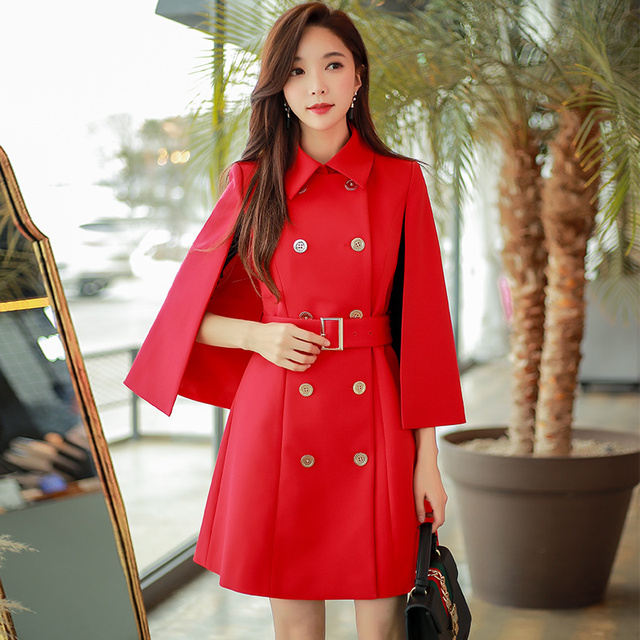 Dabuwawa 2018 Elegant Sleeveless Vest Trench Women Red Double Breast Cape Windbreak Vintage Warm Belt Formal Coat D18ATC023