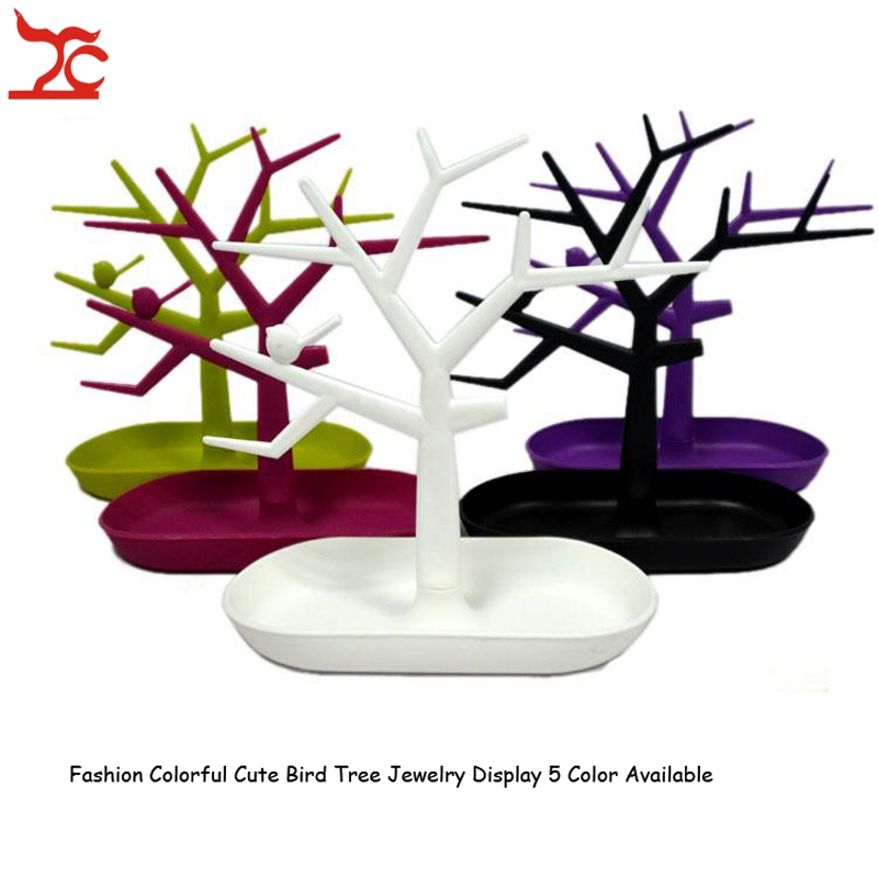 Drop Shopping Plastic Bird Tree Jewelry Display Tray Holder 5 Colors Ring Necklace Jewelry Display Organizer Rack Stand