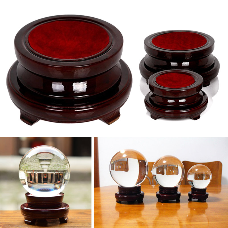 Transparent Wooden Base Stand Holder Decoration For Crystal Glass Ball Home Office Gift P7Ding