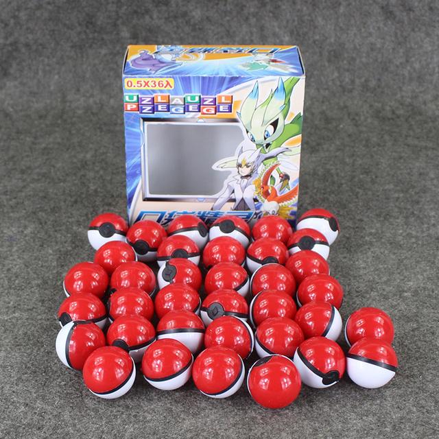 36 unids/set Pokeball Pequeño Tarjetas de Mega Figuras de Poke Bola Juguetes Con Empuje y Empuje Gran Colección Brinquedos Regalos Para Los Niños