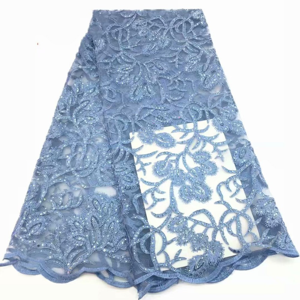 Wholesale high quality gauze lace sky blue African lace fabrics and sequins beads African French wedding