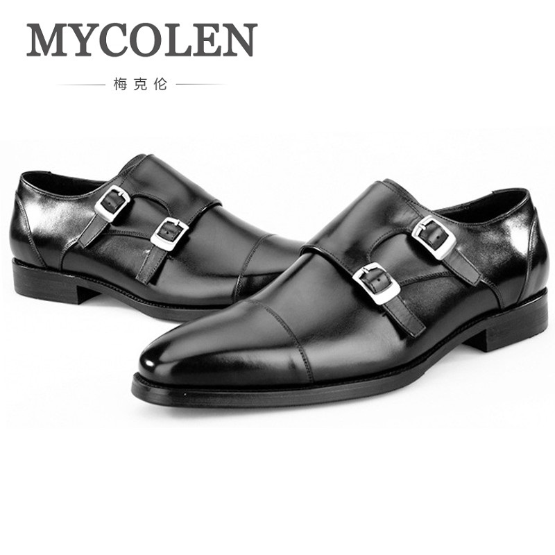 MYCOLEN Men Shoes Casual Luxury Brand Genuine Leather Formal Dress Double Buckle Straps Formal Wedding Shoes Chaussures Men fashionable buckle and double zipper design casual shoes for men