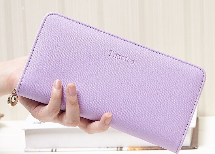Wallet Female PU Leather Clutch Handbag Candy Color Long Women Wallets Credit Card Holder Coin Purse Phone Pocket Women Bag B745