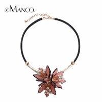 Emanco trendy różowy kwiat komunikat choker naszyjniki kobiety pu leather chain rhinestone top marka biżuteria