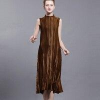 Summer Womwen's Dress Metallic Luster Design Miyak Pleated Stand collar Sleeveless Dresses For Women Black Big Swing Dress D778