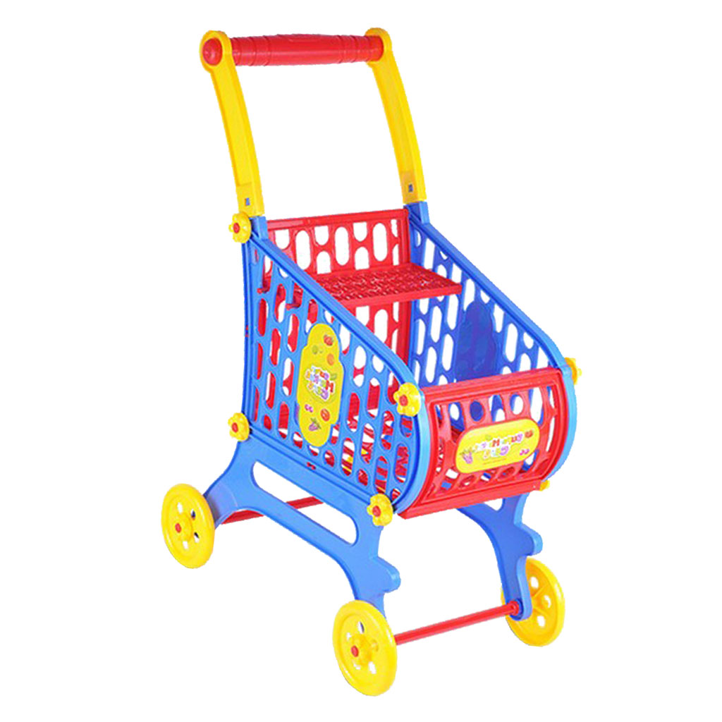 Mini Plastic Supermarket Shopping Cart Basket, Kids Toddler Role Pretend Play Toy Fancy Children Birthday Gift - 25x36x52cm
