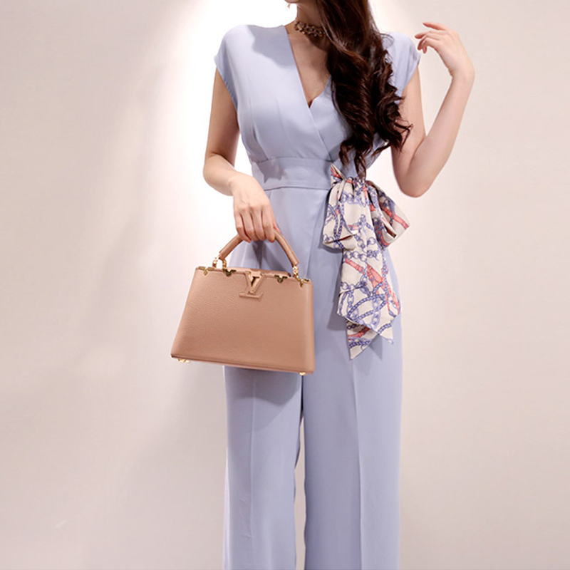 Elegant Belted Waist Business Jumpsuits Women 2019 New Wide Leg Long Playsuits Casual Office Lady Lace Up Work Wear Rompers