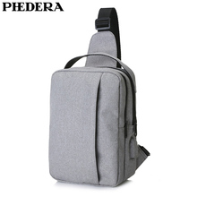 PHEDERA New Multipurpose PVC Oxford Men Sport Chest Bags Casual Travel Male Messenger Bag with USB Shoulder