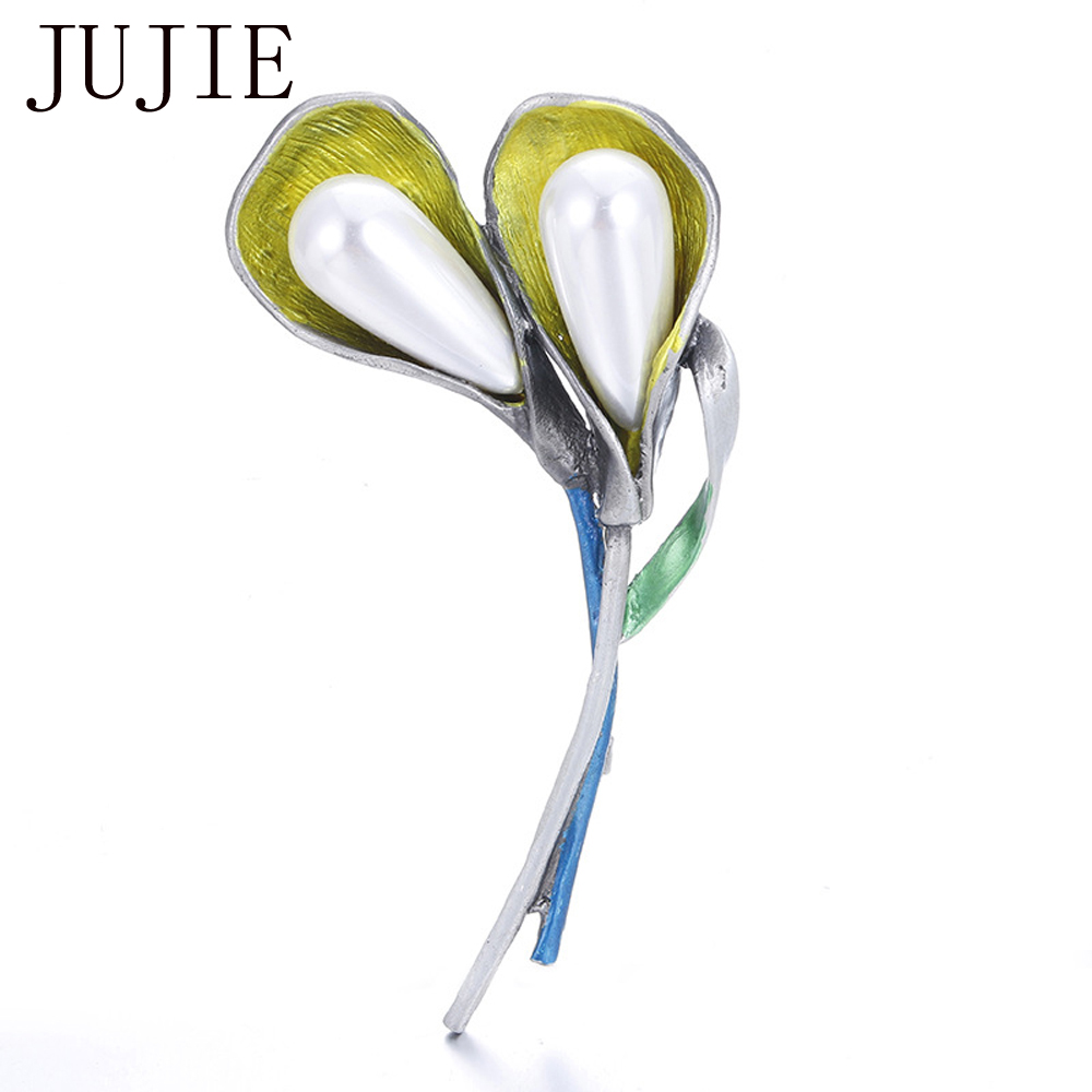 JUJIE Luxe Parels Bloem Broche Pins Revers Hijab Emaille Broches Sieraden Dropshipping