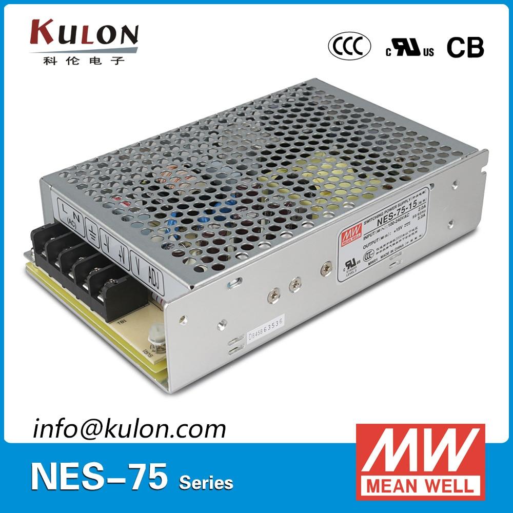 Original Meanwell NES-75-15 Single output 75W 5A 15V Mean well Power Supply NES-75 CB UL EMC CCC original mean well nes 350 12 ac to dc single output 350w 29a 12v meanwell power supply nes 350
