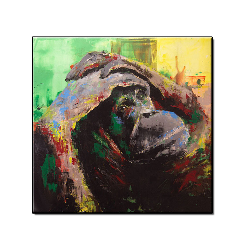 Hand painted Abstract animal Oil Painting monkey hotel artwork Handmade on Canvas wall art picture for living room unframed