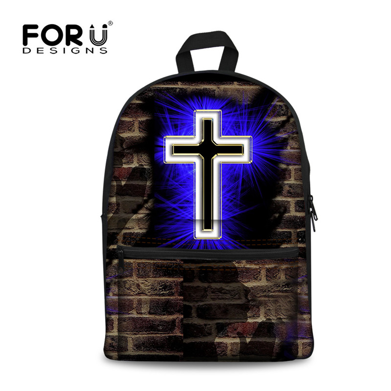 FORUDESIGNS Cross Design School Bag for Girls Boys,Personalited Canvas Kids Schoolbag,Children Classic Bookbag cartable enfant