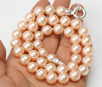 Hot selling free shipping*******AA Rare Large 10mm Natural Peach Pink Cultured Freshwater Pearl Necklace Choker