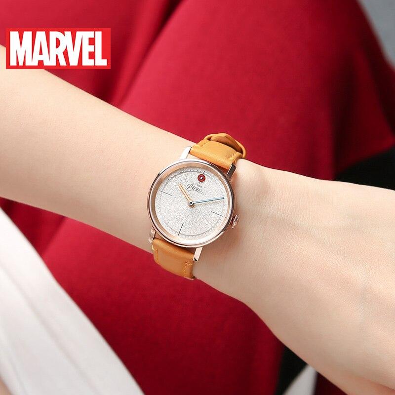 Marvel Avengers femmes bracelet en cuir étanche montres à Quartz dames Captain America Hero montre à la mode Top Femme Disney horloge nouveau - 3