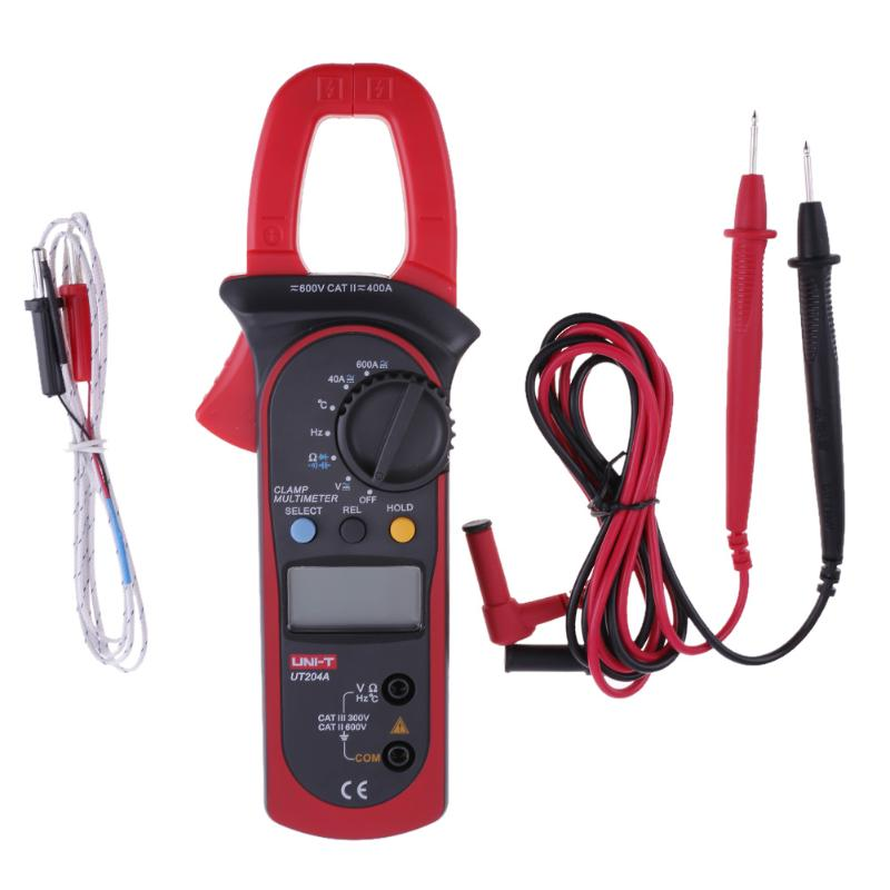 UNI-T UT204A Digital Display Clamp Type Multimeter AC DC Current Voltage Meter Capacitance Frequency Temperature Measurement new arrivals ut206 3 3 4 digital auto range current clamp multimeter capacitance 1000a 600v uni t meter with temperature china