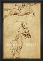 High quality Leonardo da vinci oil paintings reproduction Sketch of a Horse Canvas art for wall decor 100%handmade