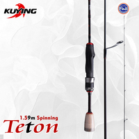 KUYING TETON 5'3 1.59m Fishing Spinning Lure Fish Rod Cane Pole Stick Carbon Medium Fast Action Ultralight Soft 1.5 Section