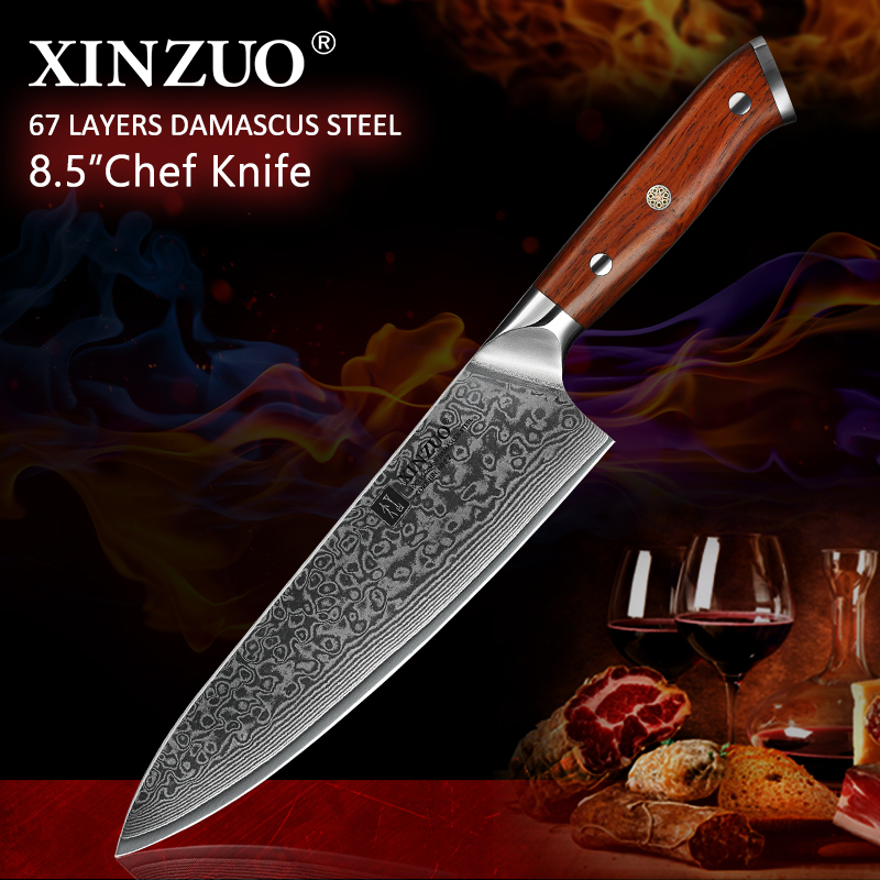 XINZUO 8.5 inch Chef Knives High Carbon VG10 Japanese 67layer Damascus Kitchen Knife Stainless Steel Gyuto Knife Rosewood HandleXINZUO 8.5 inch Chef Knives High Carbon VG10 Japanese 67layer Damascus Kitchen Knife Stainless Steel Gyuto Knife Rosewood Handle
