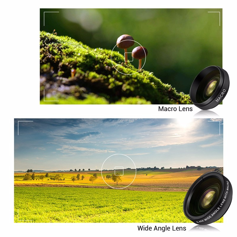 TURATA Fisheye Lens 2 in 1 Professional HD Phone Camera Lens Kit 0.45X Wide Angle+12.5X Macro Clip-on Fish Eye for Smartphone 12