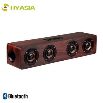 HYASIA Soundbar Bluetooth Speaker Wireless Wooden Desktop PC Speaker TV Support TF AUX Handsfree Audio for Bookshelf Phone Home