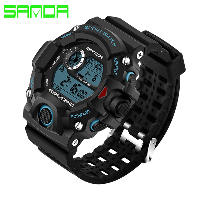 SANDA Fashion Sports Digital Watch Men Diving Sport LED Clock for Men Waterproof Geneva Military Watches Relojes hombre 326