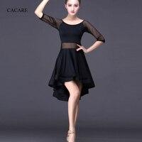 CACARE Latin Salsa Dance Dress for Women Latin Dress Fringe Latin Dance Competition Dresses D0314 Mermaid Hem Mesh Sleeve